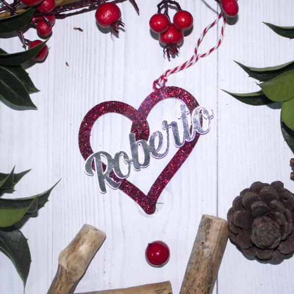 decorazione albero, plexiglass rosso