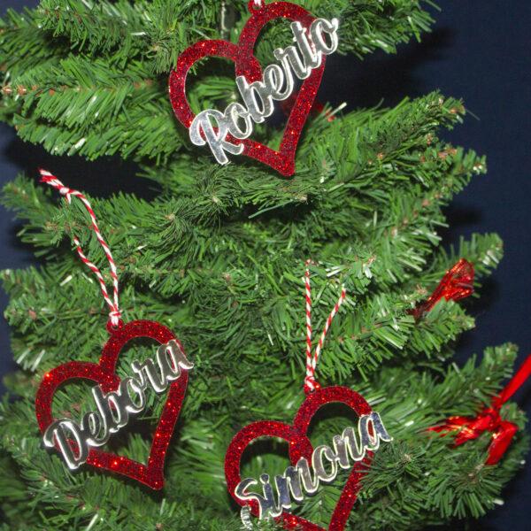 decorazione per albero di natale, plexiglass rosso