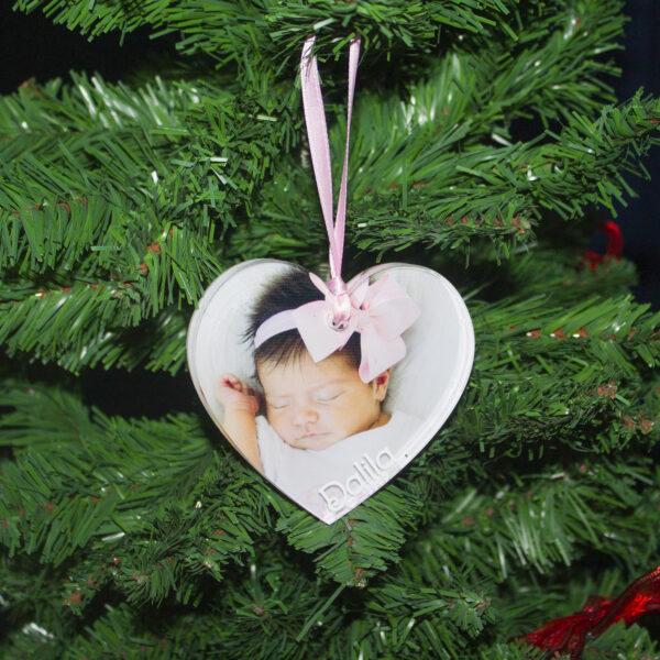 decorazione albero, foto e nome