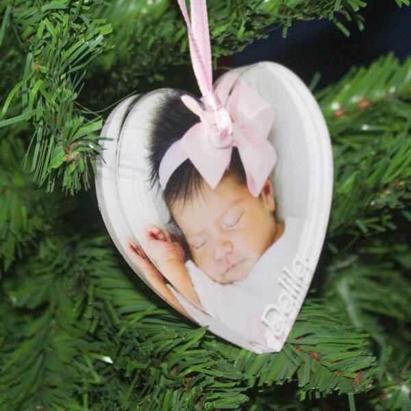 decorazione albero, foto e nome, bambina