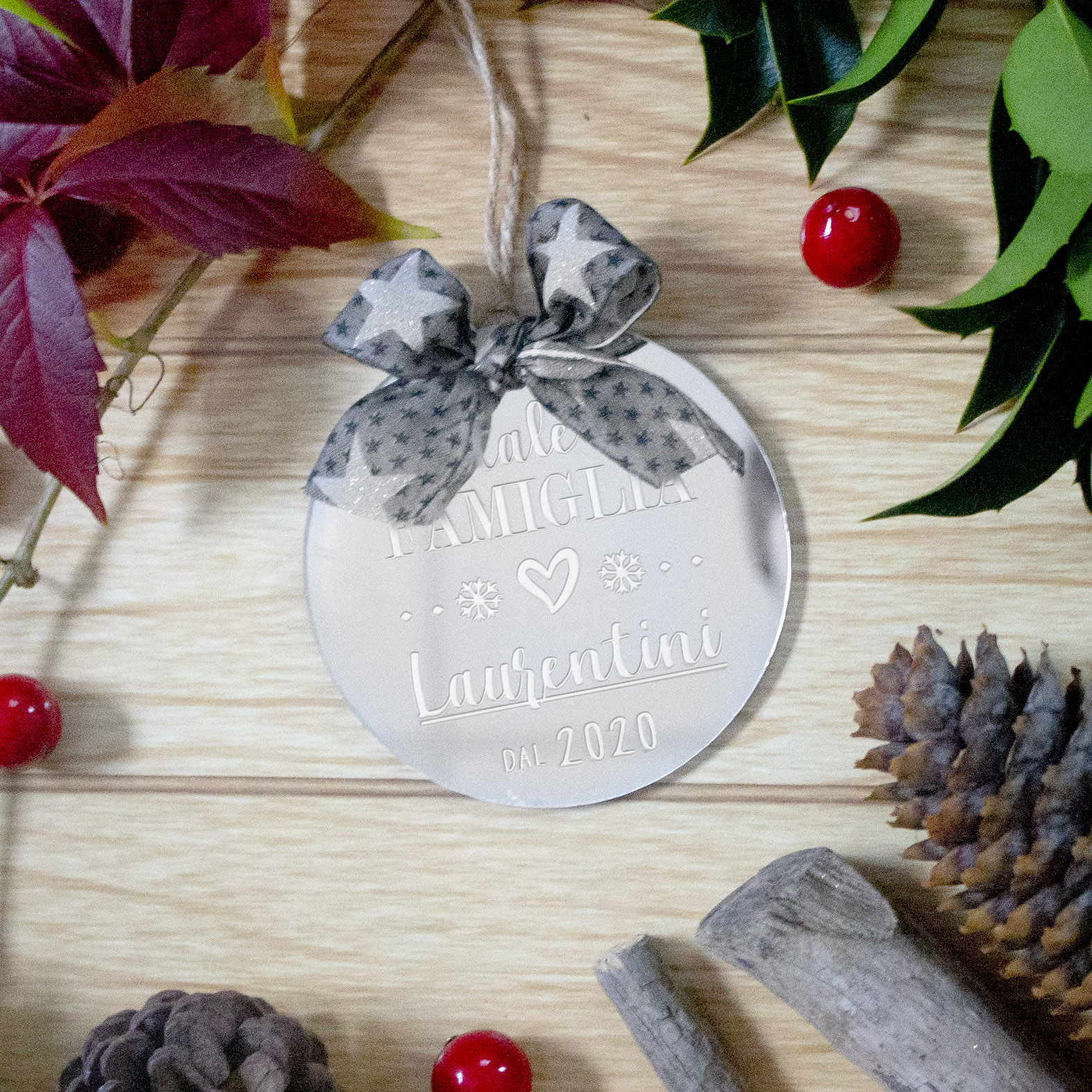 Decorazioni Natalizie Con Foto.Decorazione Per Albero Di Natale Natale In Famiglia B Paper