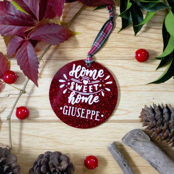 decorazione albero di natale home sweet home con nome