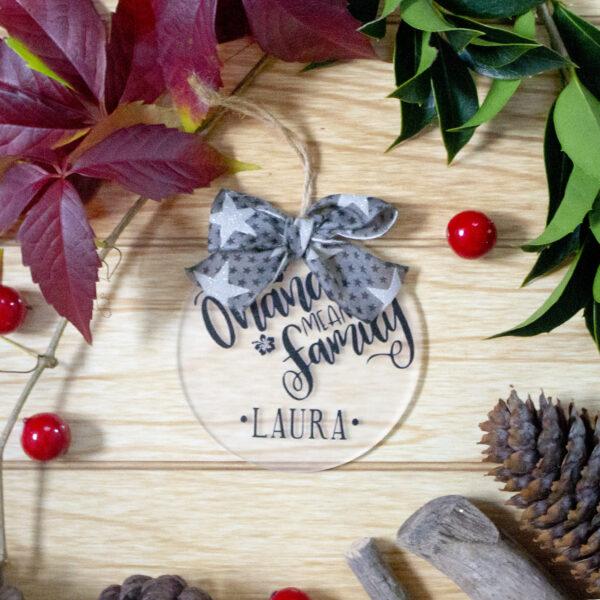 decorazione albero di natale ohana con nome