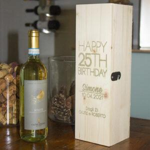 cassettina porta vino personalizzabile per il compleanno, 25 anni