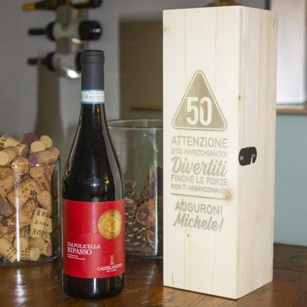 Cassettina - Porta Vino - Per il Compleanno - Personalizzabile, 50 anni