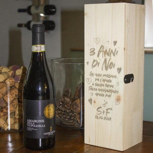 cassetta porta vino personalizzabile, anniversario fidanzati