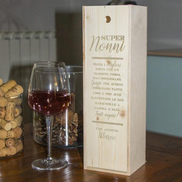 cassetta porta vino personalizzabile nonni