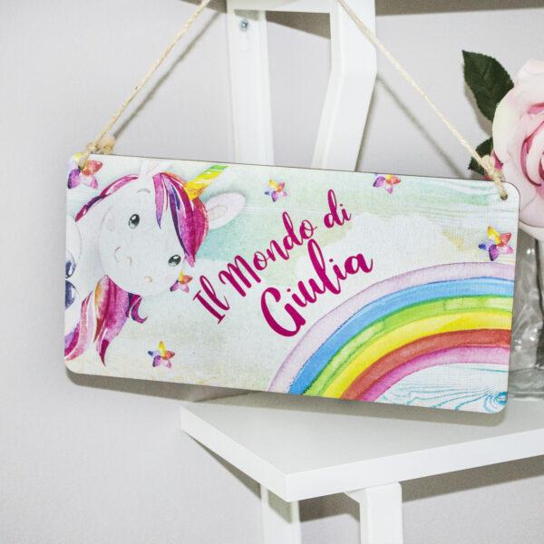 targhetta fuori porta unicorno bambina