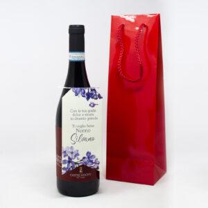 bottiglia di vino grafica floreal
