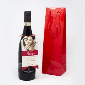 bottiglia di vino personalizzato grafica love