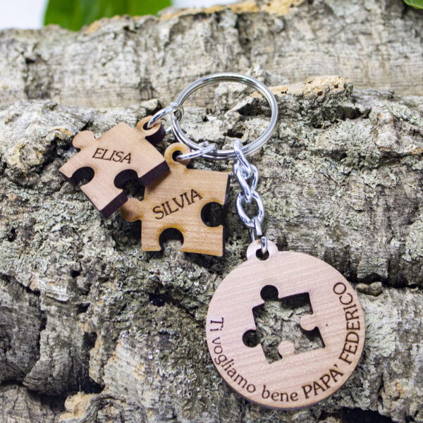 portachiavi puzzle legno