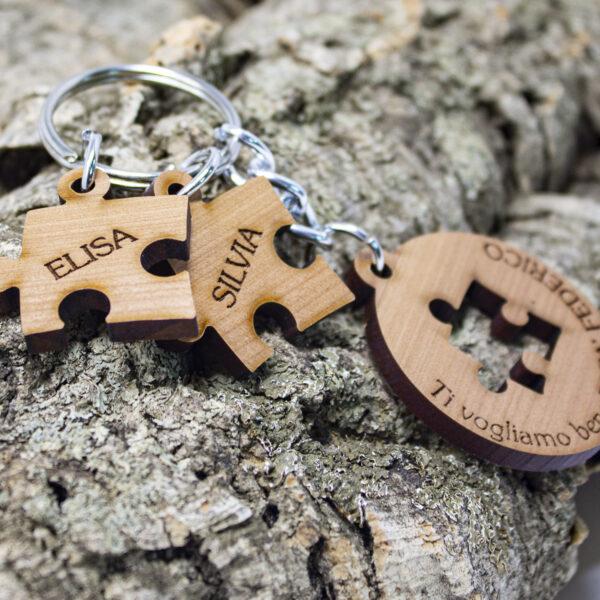 portachiavi in legno puzzle