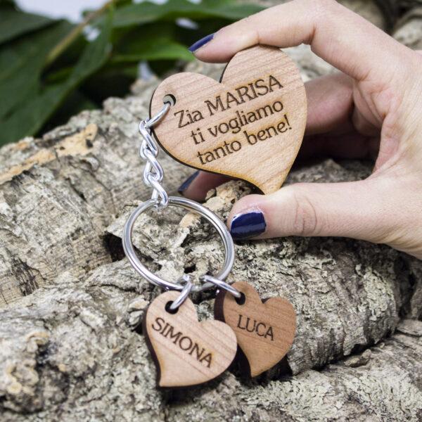 portachiavi cuore legno