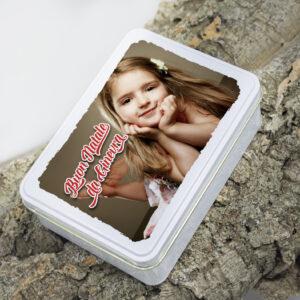 gift box in latta con personalizzazione foto o frase