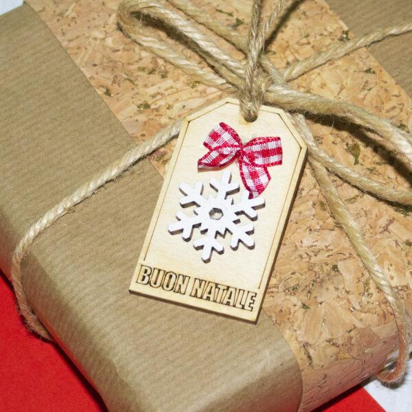 tag in legno per chiudi pacco, fiocco di neve