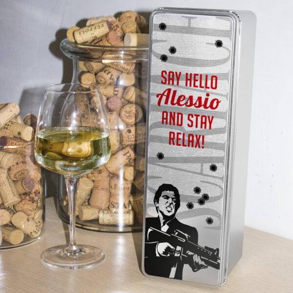 scatola in latta porta vino scarface