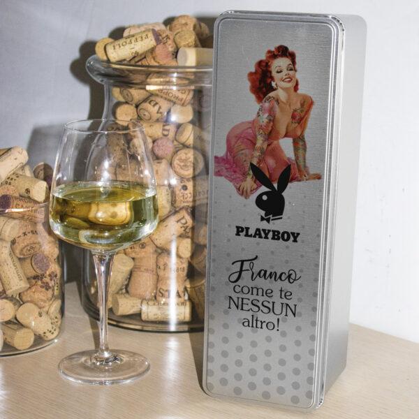 scatola in latta porta vino pin up