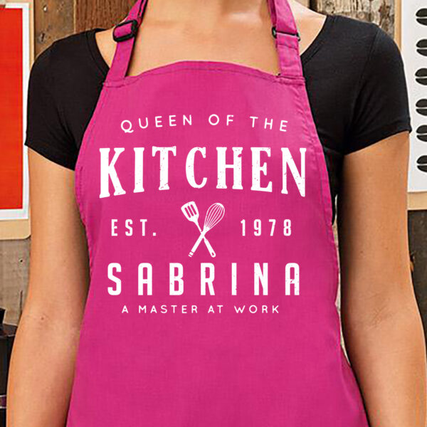 "grembiule personalizzato ""queen of the kitchen"", fucsia"