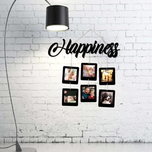 porta foto deco murale happiness, nero