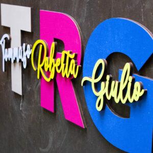 decorazione in legno, lettere decorative, lettere da parete