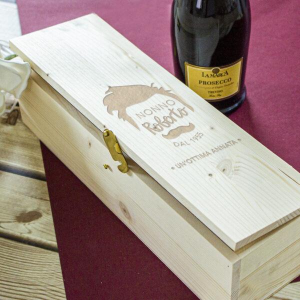 regalo per il nonno, cassetta per il vino personalizzata