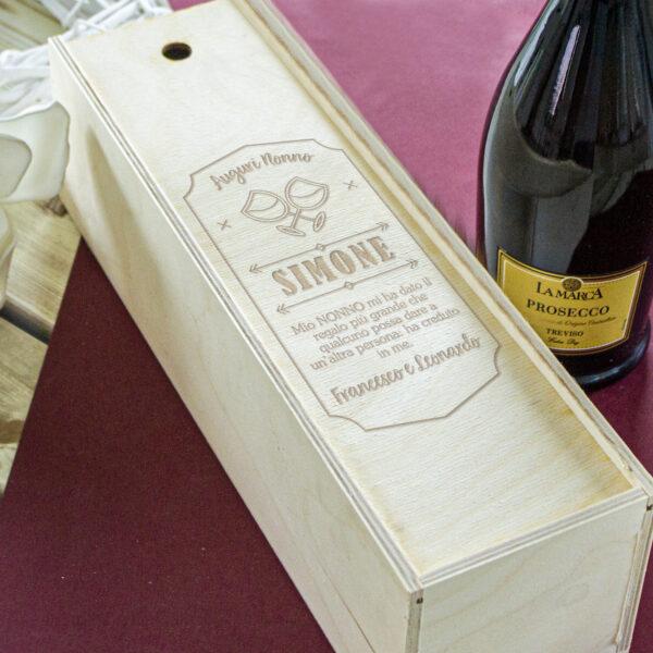 regalo per il nonno, cassetta vino personalizzata