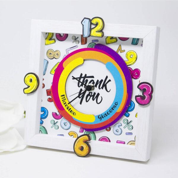 cornice bambini - orologio ringraziamento maestra pop art