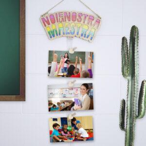 portafoto in legno noi e la nostra maestra