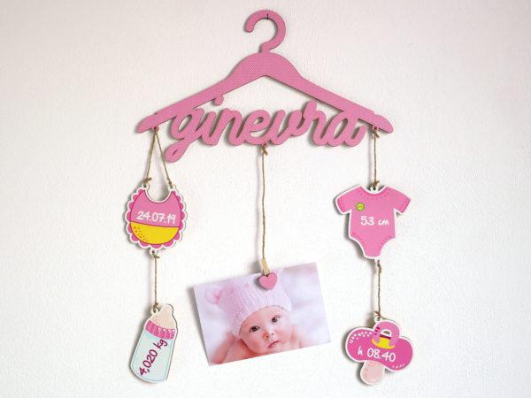 Babyapp Fiocco Nascita Colorato Personalizzabile - Idea Regalo Bambina