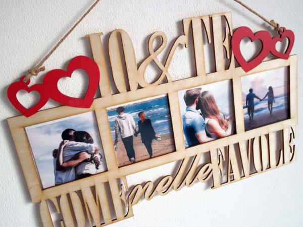 Portafoto IO&TE con Cornice in Legno Personalizzabile - Idea Regalo per Coppie o San Valentino