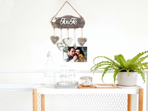 Targhetta Io&Te con Cuore in Gesso - Idea Regalo per Famiglia o San Valentino