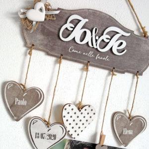 targhetta romantica, Targhetta Io&Te con Cuore in Gesso - Idea Regalo per Famiglia o San Valentino