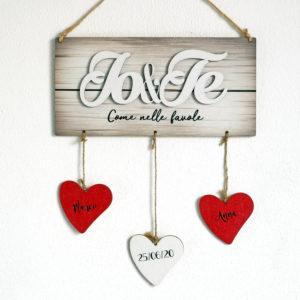 targhetta legno-Targhetta Io&Te - Ideale come Regalo per Famiglia o San Valentino