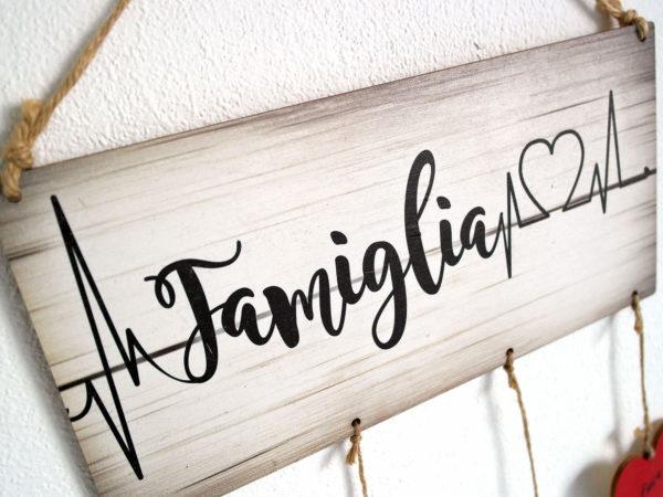 Targhetta Famiglia con Battito Cuore - Idea Regalo per Famiglia