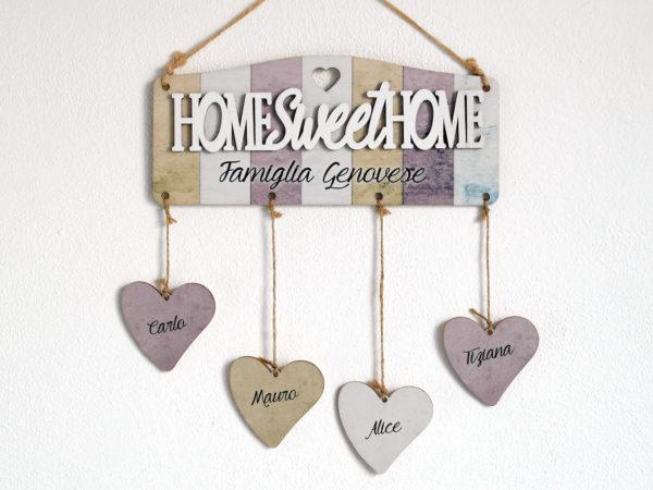 Targhetta in legno con scritta home sweet home