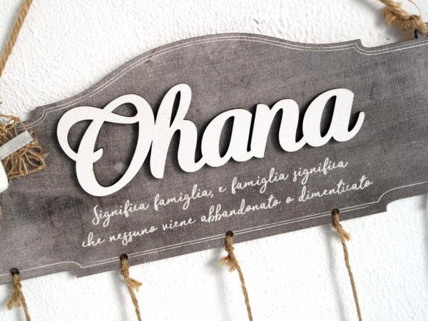 Targhetta Ohana con Cuore in Gesso e Fiocco in Juta - Idea Regalo per Famiglia
