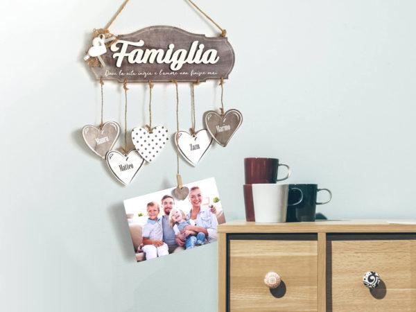 Targhetta Famiglia con Cuore in Gesso e Fiocco in Juta - Idea Regalo per Famiglia