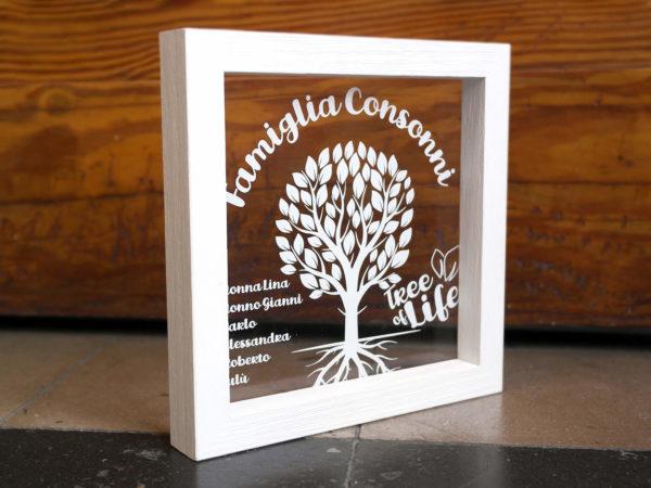 Quadretto Cornice in Plex Tree of Life - Cornice in Legno Sbiancato e Plex Trasparente Personalizzabile - Idea Regalo per Famiglia