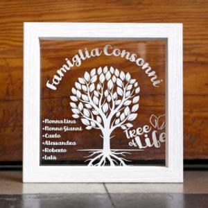 Quadretto tree of life Cornice in Plex Tree of Life - Cornice in Legno Sbiancato e Plex Trasparente Personalizzabile - Idea Regalo per Famiglia