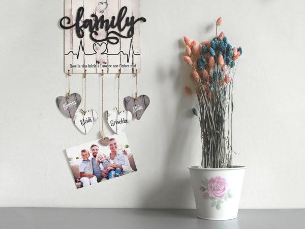 Targhetta Family Personalizzabile con Battito Cuore - Idea Regalo per Famiglia