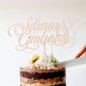 cake topper per coppia, sopra torta legno sbiancato nome personalizzato