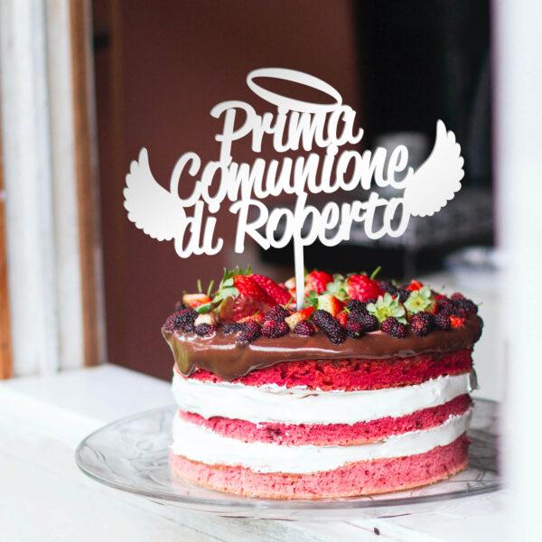 cake topper prima comunione, sopra torta nome personalizzato per comunione
