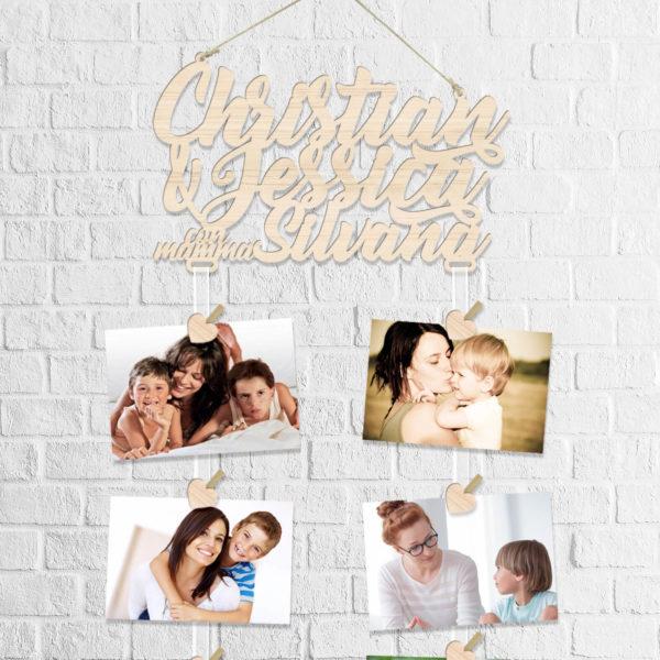 nomi in legno con foto mamma e figli