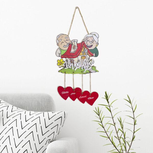 targhetta nonni wood, regalo per i nonni